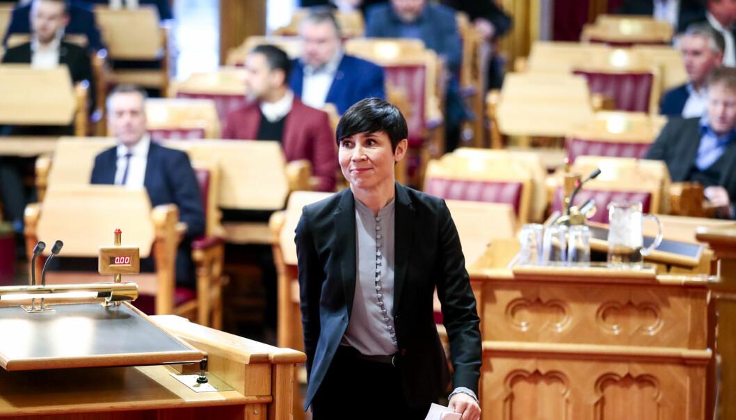 Utenriksminister Ine Eriksen Søreide i Stortinget før behandlingen av rapporten fra Libya-utvalget, som gjennomgikk det norske bidraget til krigen.