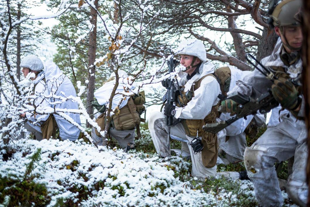 Soldater fra andre bataljon driver oppdragsløsnignig og etablerer sikring rundt Porsangermoen.