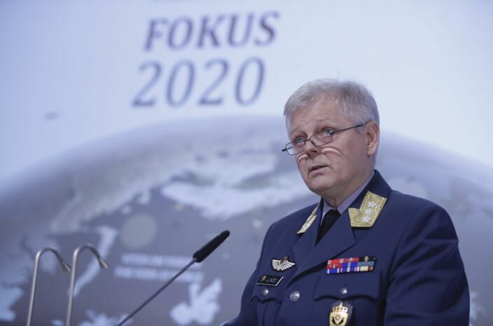 Sjef for Etterretningstjenesten, generalløytnant Morten Haga Lunde, under fremleggelsen av Etterretningstjenestens åpne vurdering av aktuelle sikkerhetsutfordringer, Fokus 2020 i februar i år.