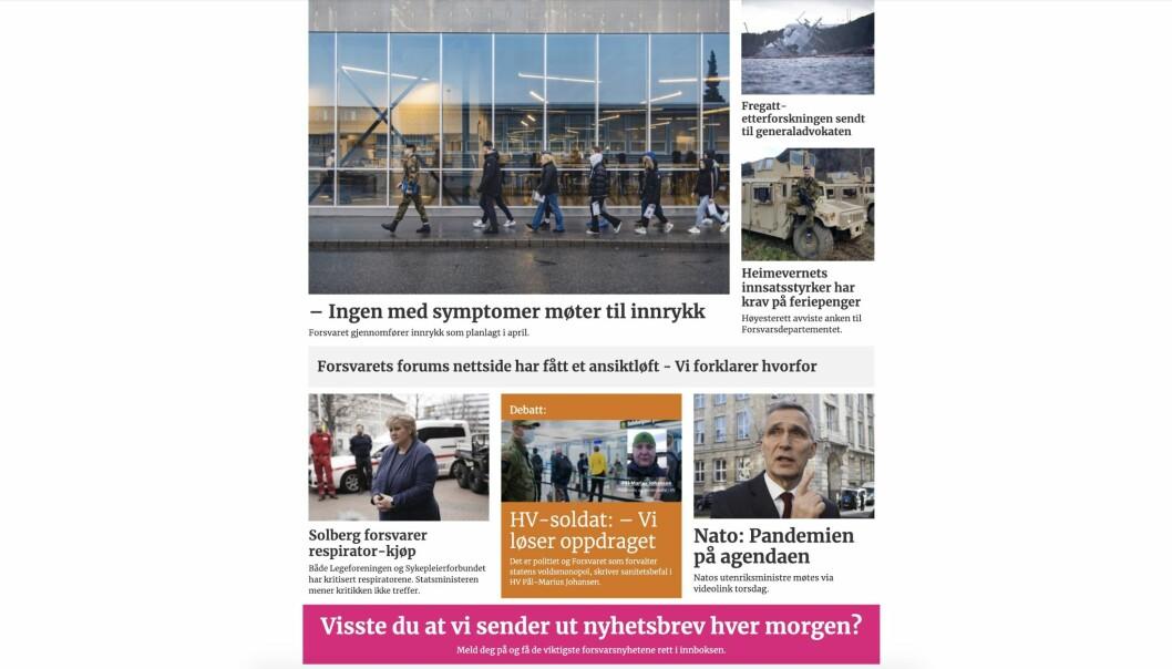 Skjermbilde av «nye» Forsvarets forum på nett.