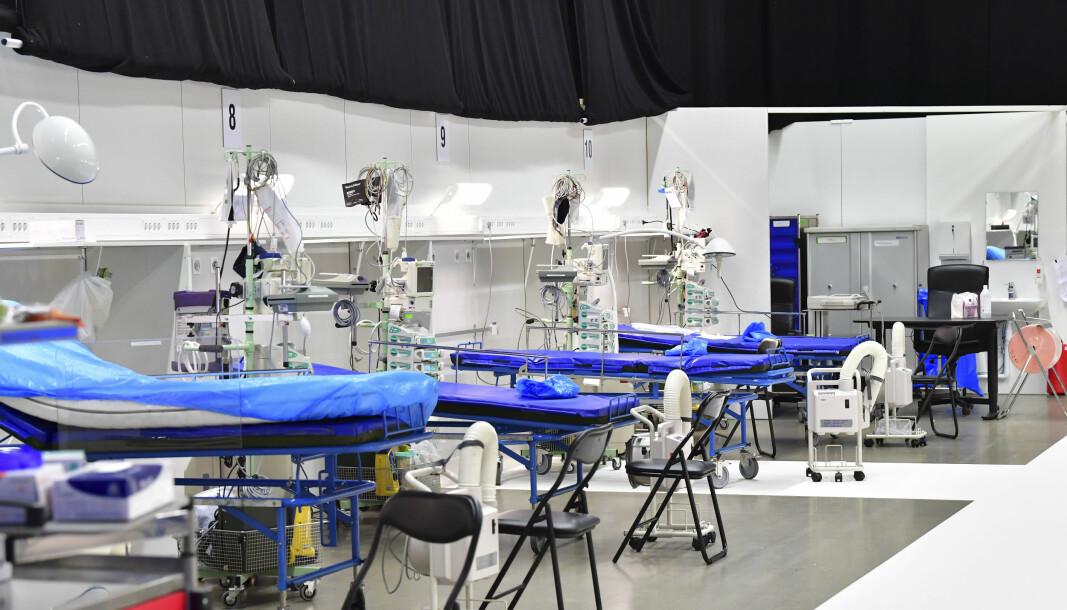 Pressevisning av feltsykehus som settes opp i Stockholm.