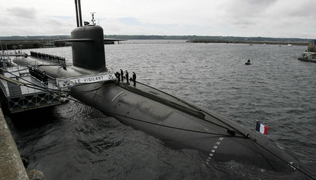 Den franske reaktordrevne ubåten «Le Vigilant» avbildet ved kai i juli 2007.