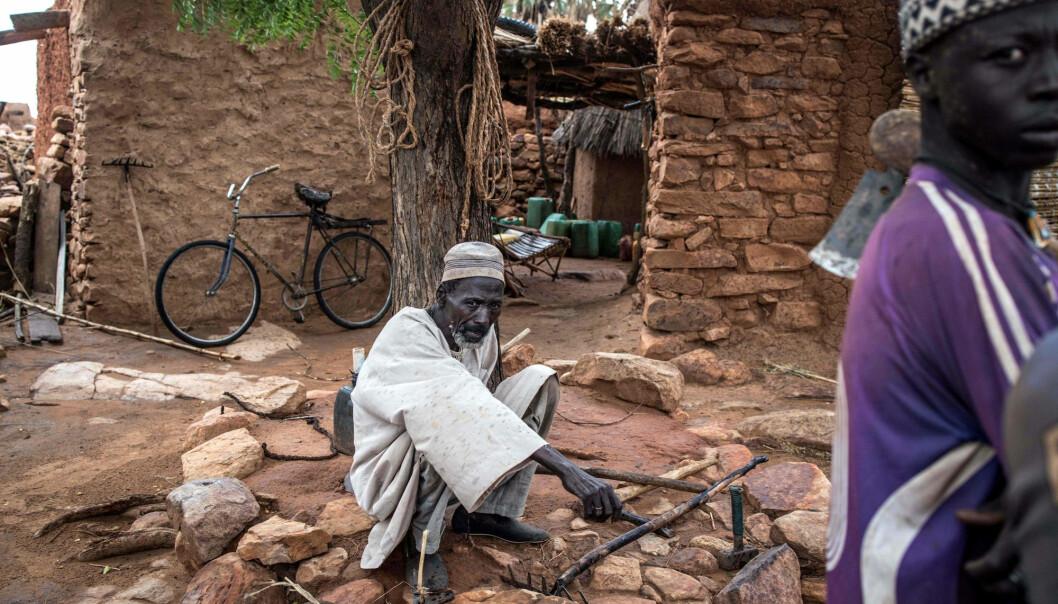 Ein eldre mann sit under eit tre i regionen Dogon i sentrale delar av Mali. Bildet er datert 4. juli 2019.