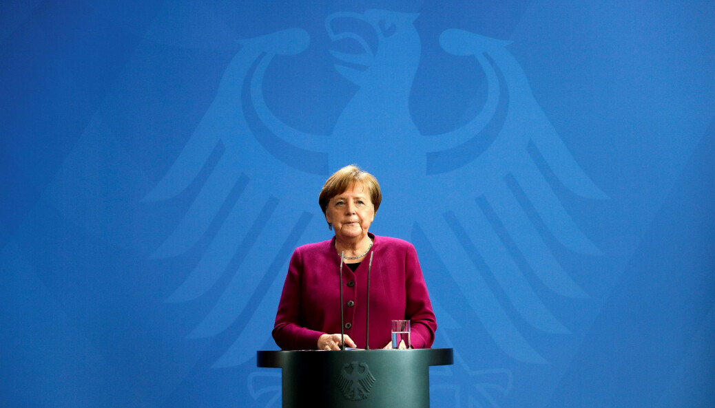 Tysklands forbundskansler Angela Merkel under en pressekonferanse i forrige uke.