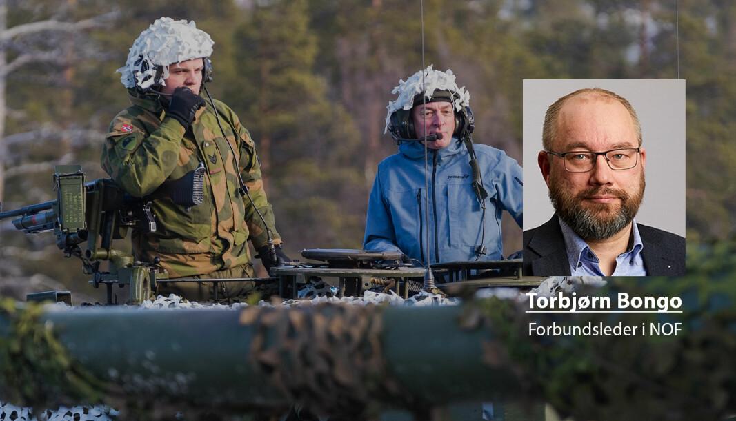 Forsvarsminister Frank Bakke-Jensen (H) fikk sitte på i en Leopard 2 stridsvogn da han besøkte Brigade Nord og Panserbataljonen i Røros-området i forbindelse med militærøvelsen Trident Juncture.