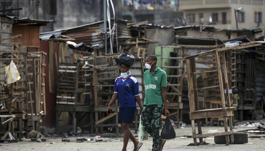 Mange boder og butikker i Lagos, Nigeria, er stengt på grunn av myndighetens forbud i forbindelse med koronapandemien.