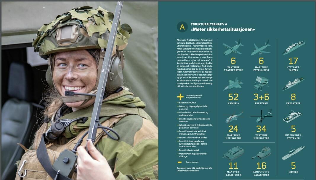 Alternativ A var forsvarssjef Haakon Bruun-Hanssens foretrukne alternativ.