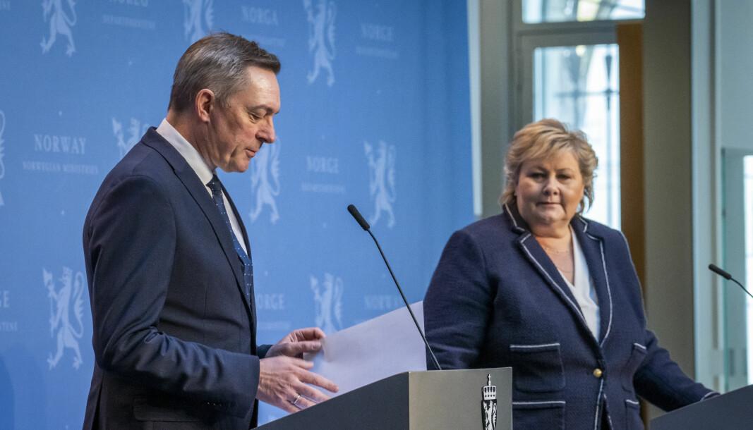 Statsminister Erna Solberg (H) og forsvarsminister Frank Bakke-Jensen (H) legger fram regjeringens forslag til ny langtidsplan for Forsvaret.