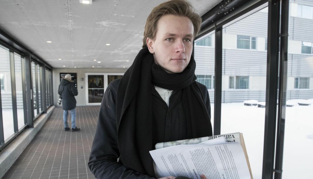 Unge Venstres leder Sondre Hansmark før landsstyremøte for å ta stilling til den fremforhandlede regjeringsplattfomen på Gardermoen i januar 2019.