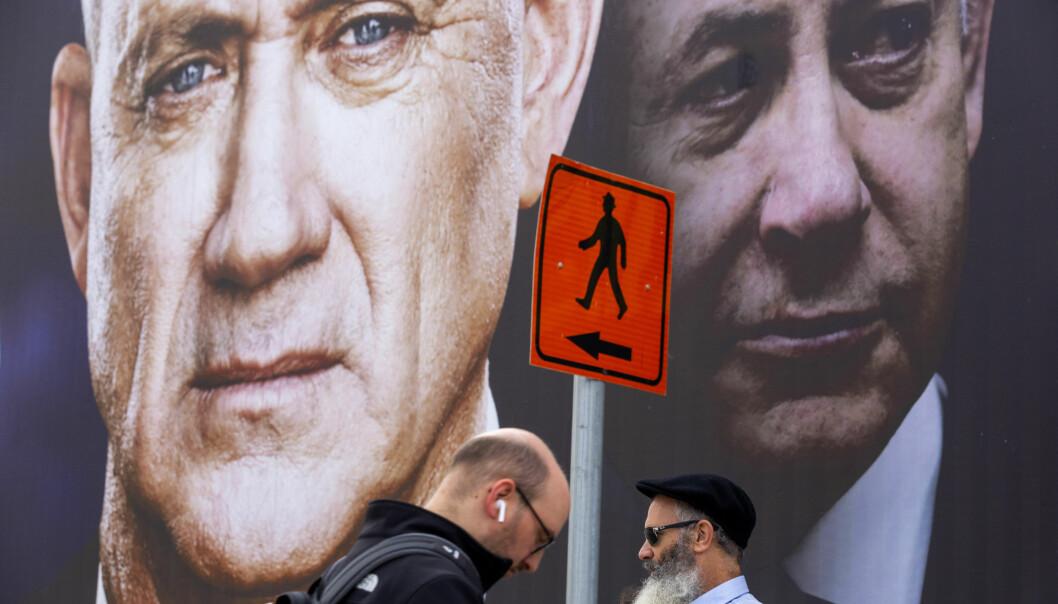 Israels statsminister Benjamin Netanyahu (T.h.) og opposisjonsleder Benny Gantz (t.v.) er blitt enige om å danne samlingsregjering. De er også enige om å begynne annekteringen av den okkuperte Vestbredden 1. juli.