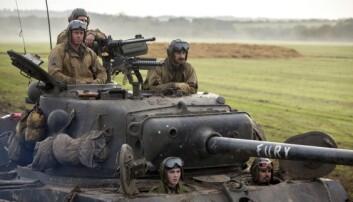Filmen «Fury» med Brad Pitt i rollen som vognkommandør på en Sherman-stridsvogn.