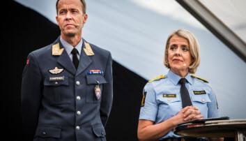 Sjef i Cyberforsvaret Inge Kampenes og politidirektør Benedicte Bjørnland i en debatt om datasikkerhet arrangert av Telenor under Arendalsuka 2019.
