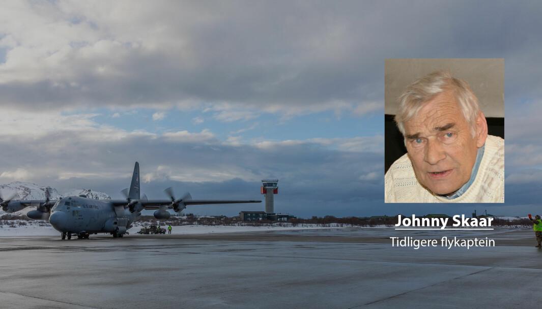 Valget av Evenes på bekostning av Andøya virker stadig mer som et dårlig begrunnet valg, skriver pensjonert flykaptein og medlem av Bevar Andøya Flystasjon, Johnny Skaar. Her ser vi et amerikansk Hercules på Andøya i 2020.