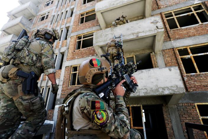 Afghansk spesialpoliti blir trent av Marinejegerkommandoen i Kabul, Afghanistan. Bildet er tatt i 2018.