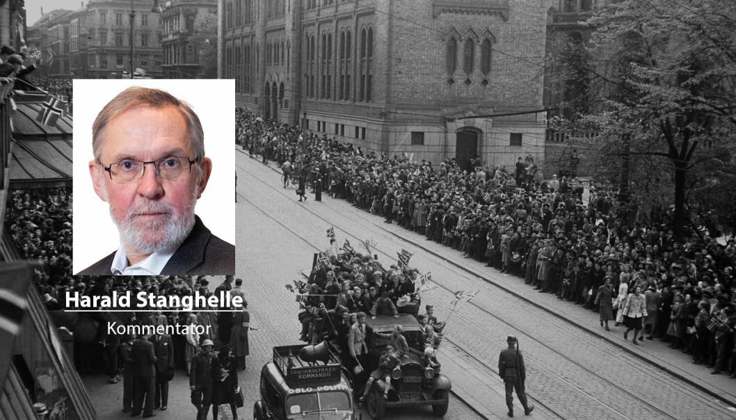 Tidsvitner fra 2. verdenskrig har vaksinert oss mot tankegodset fra nazistene, skriver Harald Stanghelle. Dette bildet er fra frigjøringen 8. mai 1945 i Oslo.