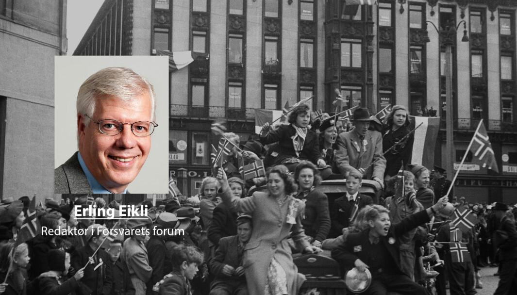 I fem år var norske aviser og kringkasting underkastet sensur., skriver redaktør i Forsvarets forum Erling Eikli. Her ser et bilde fra Frigjøringsdagen 8. mai fra Karl Johans gate i Oslo.