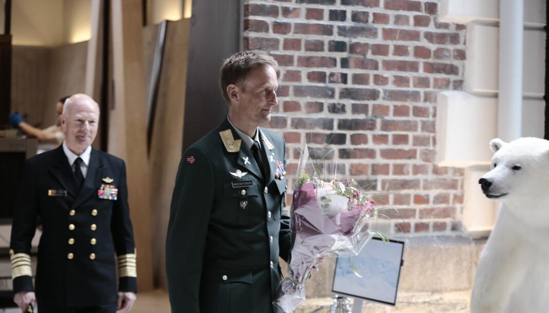 Generalmajor Eirik Kristoffersen under pressekonferansen i dag. Pressekonferansen er nå over.