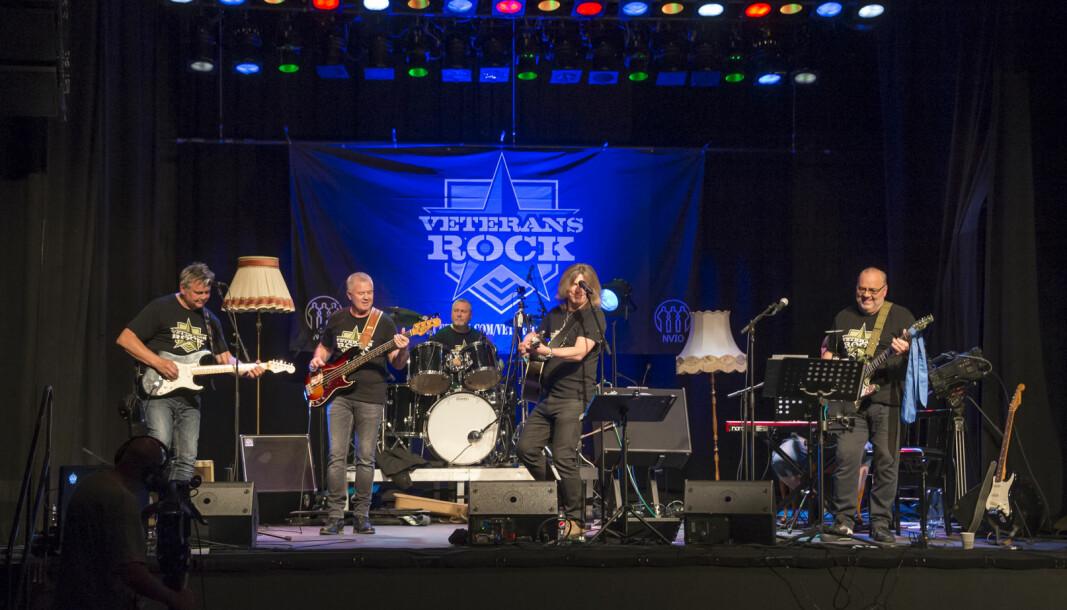 Bandet Veterans Rock under konserten i Sekkefabrikken kulturhus på Slemmestad.
