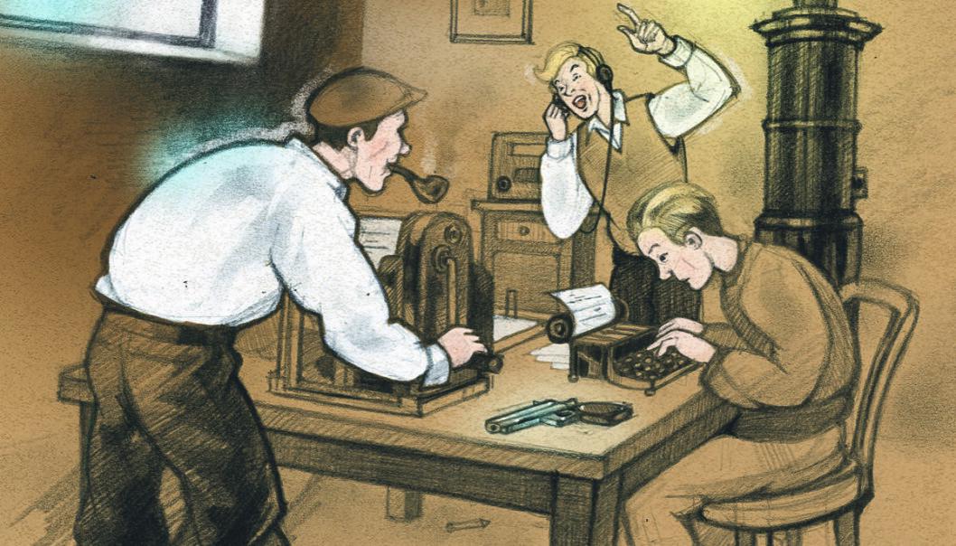 Produksjon av en illegal avis under krigen.