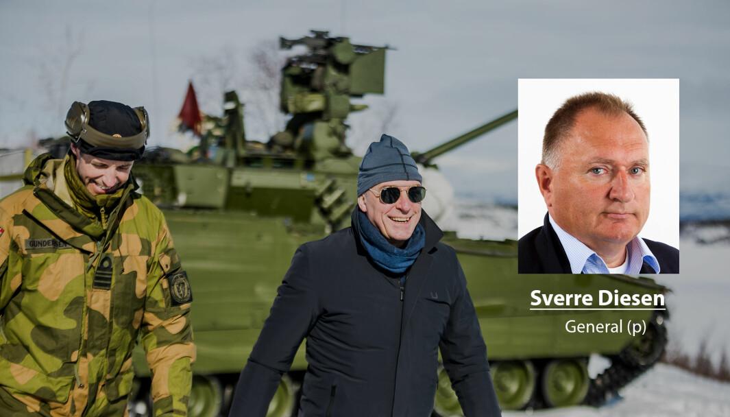 Sverre Diesen avviser at regjeringen utvikler Forsvaret i hans bilde. Her ser vi forsvarsminister Frank Bakke-Jensen under et besøk i Finnmark.