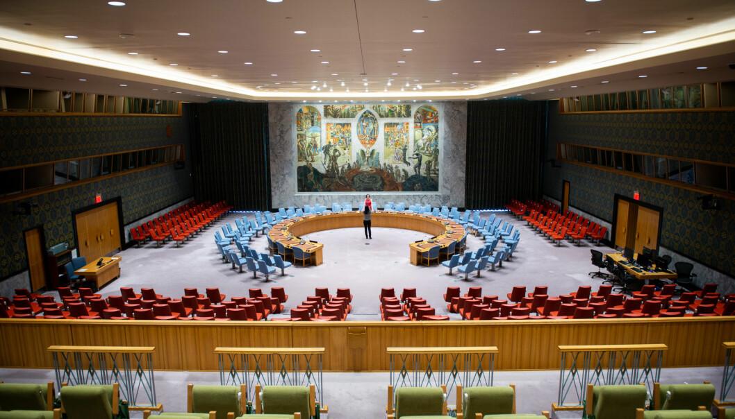 Norge kjemper mot Irland og Canada om å få plass her, i FNs sikkerhetsråd.