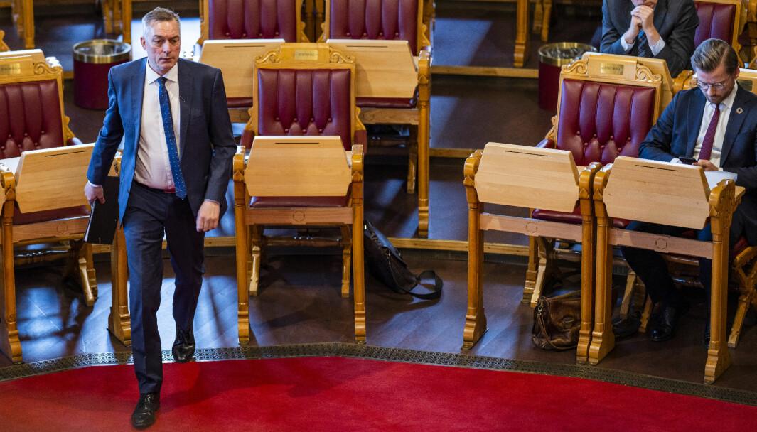 Forsvarsminister Frank Bakke-Jensen (H) i en av Stortingets muntlige spørretimer i mai.