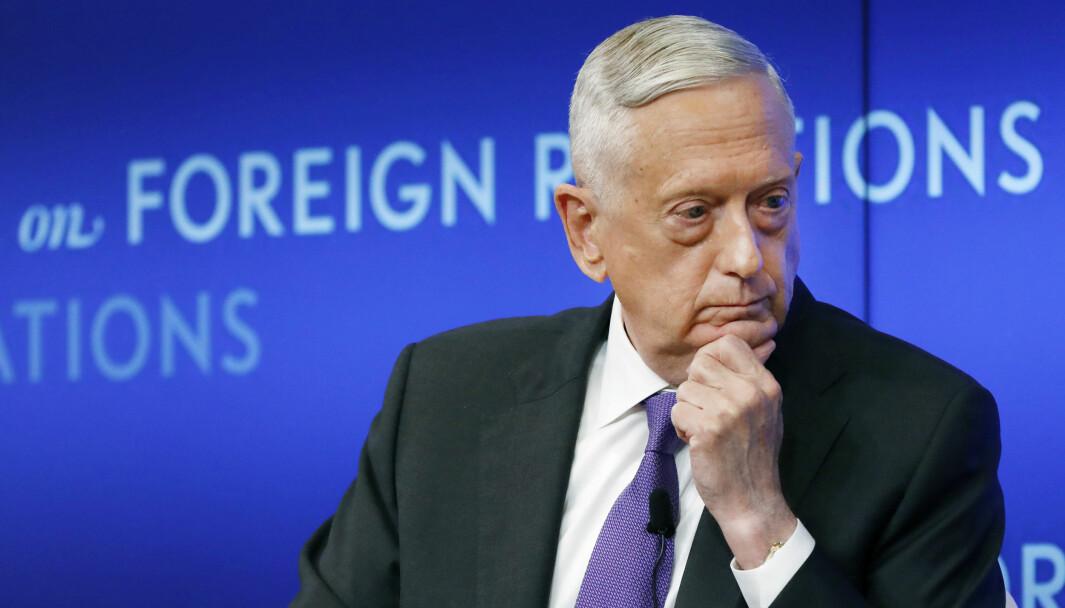 USAs tidligere forsvarsminister Jim Mattis avbildet under et møte i Council of Foreign Relations i New York i 2019.