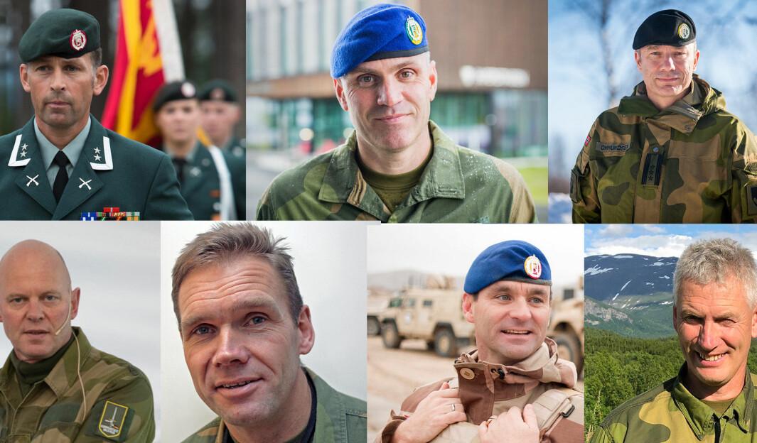Morten Eggen (f.v. øverst), Lars Lervik, Frode Ommundsen, Dag Søberg, Ivar Knotten, Lars Magnus Huse og Ivar Omsted søker alle jobben som ny sjef for Hæren.