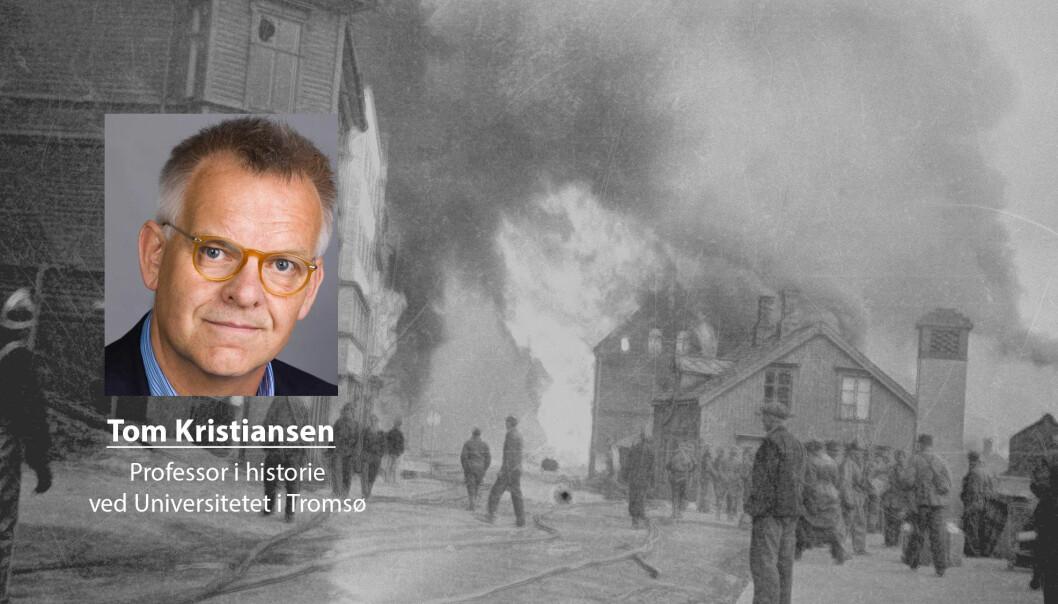 Knut Werner-Hagen forholder seg ikke seg til forskningen på en redelig måte, skriver Tom Kristiansen. Her ser vi Narvik i brann etter tysk flyangrep 1. juni 1940.