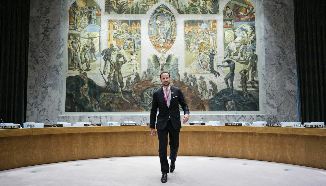 Kronprins Haakon besøker FN for lanseringen av Norges kandidatur til FNs sikkerhetsråd i 2018.