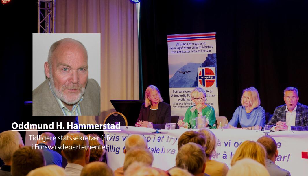 Jeg nå professor Matlary til å innta en mer offensiv linje vis-a-vis den politiske elite, skriver Oddmund Hammerstad. Her er blant andre Janne Haaland Matlary (t.v.) i en paneldebatt under Arendalsuka.
