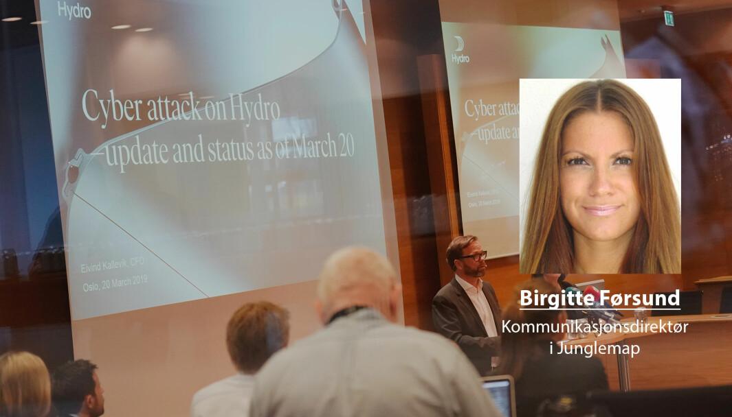Vi ser at digitale og hybride trusler utfordrer næringslivet, skriver Birgitte Førsund. Her ser vi Hydro som holder pressekonferanse etter at de var utsatt for et dataangrep i 2019.