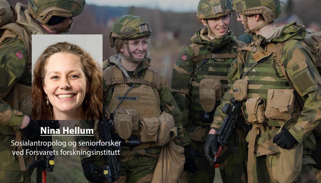 Soldater er avhengige av hverandre for å løse oppgaver og overleve, skriver Nina Hellum. Her ser vi rekrutter i Cyberforsvaret.