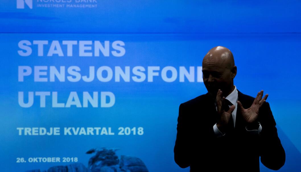 Avtroppende leder Yngve Slyngstad i Norges Bank Investment Management la frem resultatet for Statens pensjonsfond utland, eller oljefondet, i 3. kvartal. Foto: Tore Meek / NTB scanpix