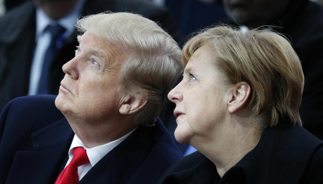 USAs president Donald Trump og Tysklands regjeringssjef Angela Merkel avbildet i 2018.