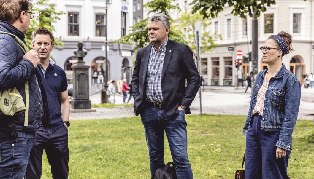 Hvis ikke variable tillegg blir pensjonsgivende frykter Staale Reiten (t.v.) i NOF Jens Jahren i BFO, Johan Hovde i Parat Forsvaret og Stina Hassel for pensjonen til de ansatte i Forsvaret