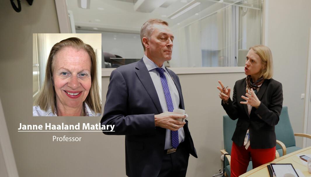Seriøse mennesker som er opptatt av Forsvaret er lei av dette spillfekteriet, skriver Janne Haaland Matlary. Her ser vi forsvarsminister Frank Bakke-Jensen og Anniken Huitfeldt (Ap).