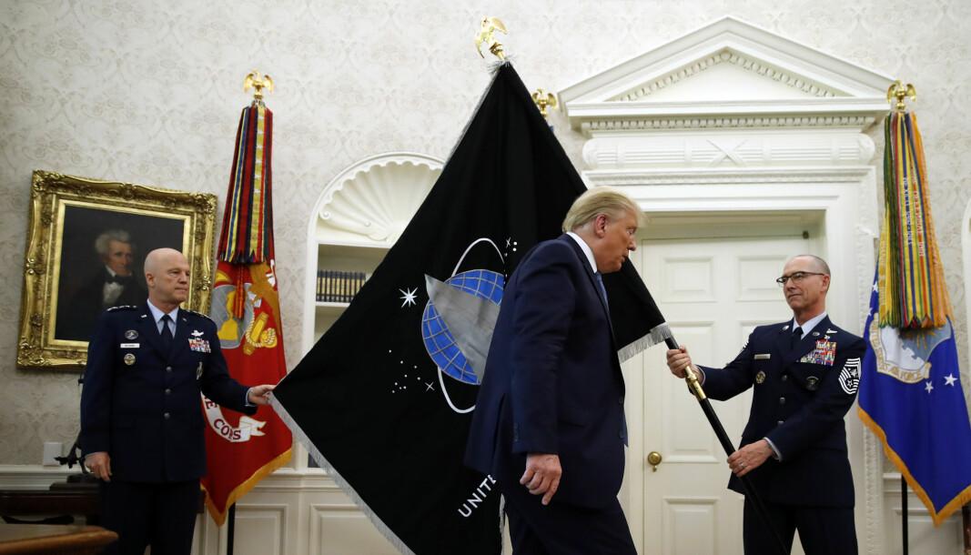 15. mai 2020 ble det nye flagget til romstyrken presentert til USAs president Donald Trump.
