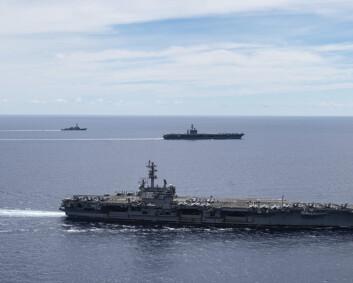 Kina og USA stadig nærare konflikt i Sørkinahavet, meiner ekspertar
