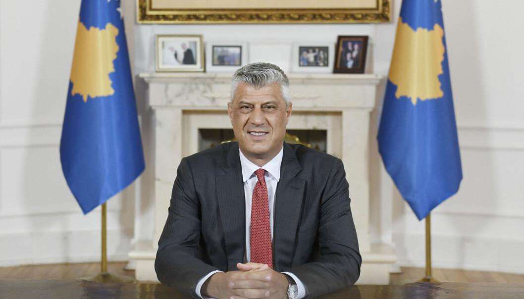 Kosovos president Hashim Thaci er tiltalt for krigsforbrytelser. Her fra en tale til nasjonen 29. juni, fem dager etter at tiltalen ble offentliggjort.