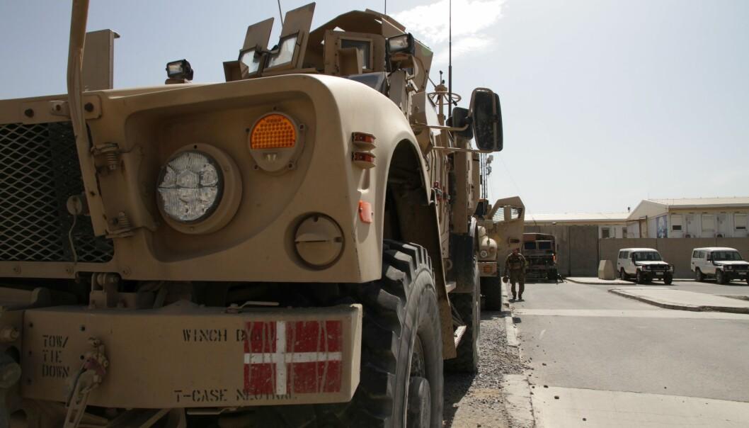 Dette illustrasjonsbildet er tatt i 2017 og viser danske militære kjøretøyer i Resolute Support Mission i Kabul i Afghanistan.