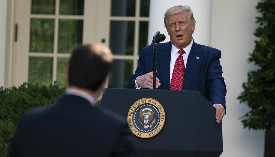 President Donald Trump langet ut mot både Kina og Joe Biden på pressekonferansen som varte i en time i Det hvite hus' rosehage tirsdag.