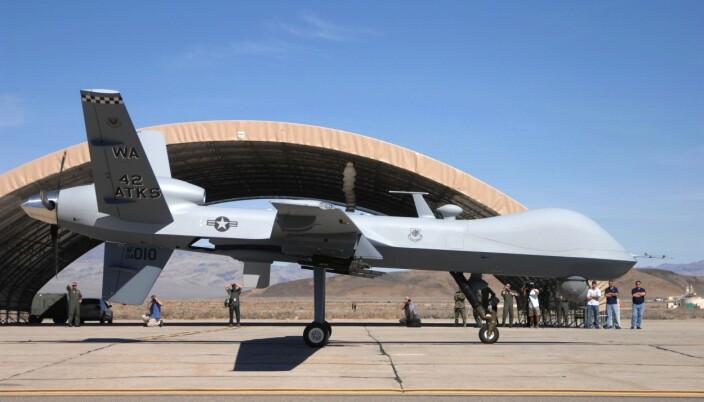 Denne MQ-9 Reaperen er avbildet av det amerikanske luftforsvaret ved Chreech Air Force Base i 2007.
