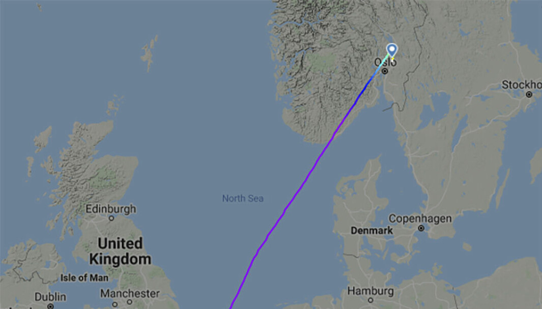 Skjermbilde av ruten til Ryanair-flyet som mottok bombetrussel på vei fra Stanstead til Gardermoen.