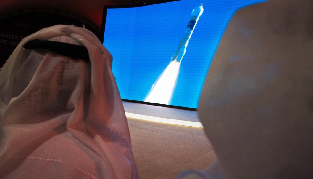 Oppskytingen i Japan ble fulgt fra skjermer på romsenteret Mohammed Bin Rashid i Dubai.