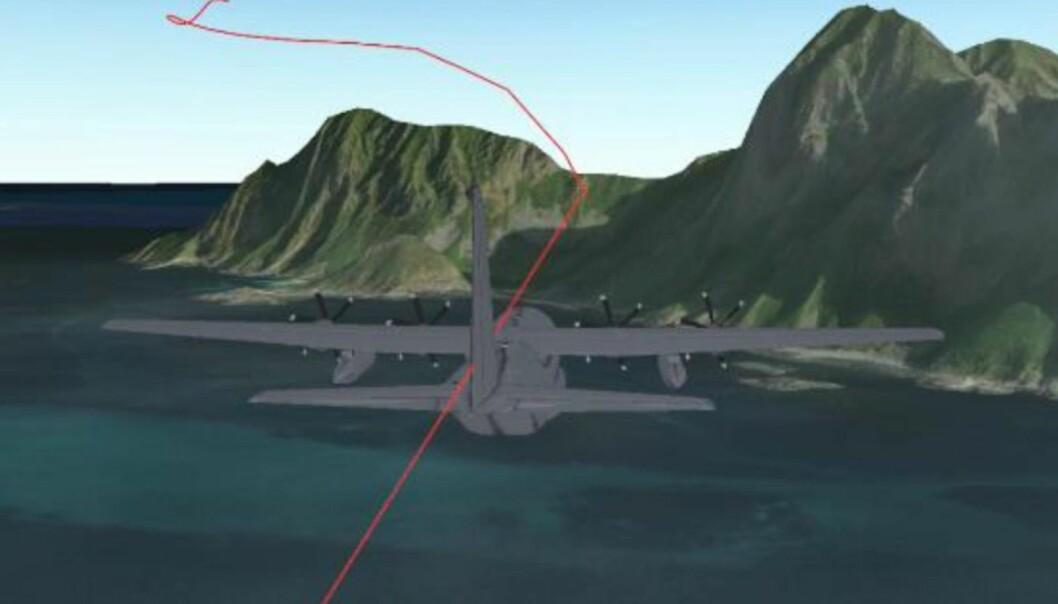 Grafikken fra rapporten viser Herkulesflyets rute der det nesten kom nær terregnet ved Mosken i Nordland.