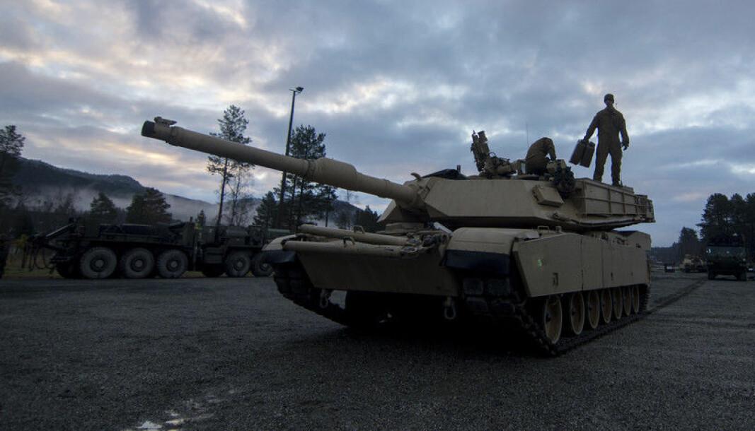 En M1A1 Abrams stridsvogn under øvelse Trident Juncture i 2018. Nå har US Marine Corps startet prosessen med å utfase sine stridsvogner.