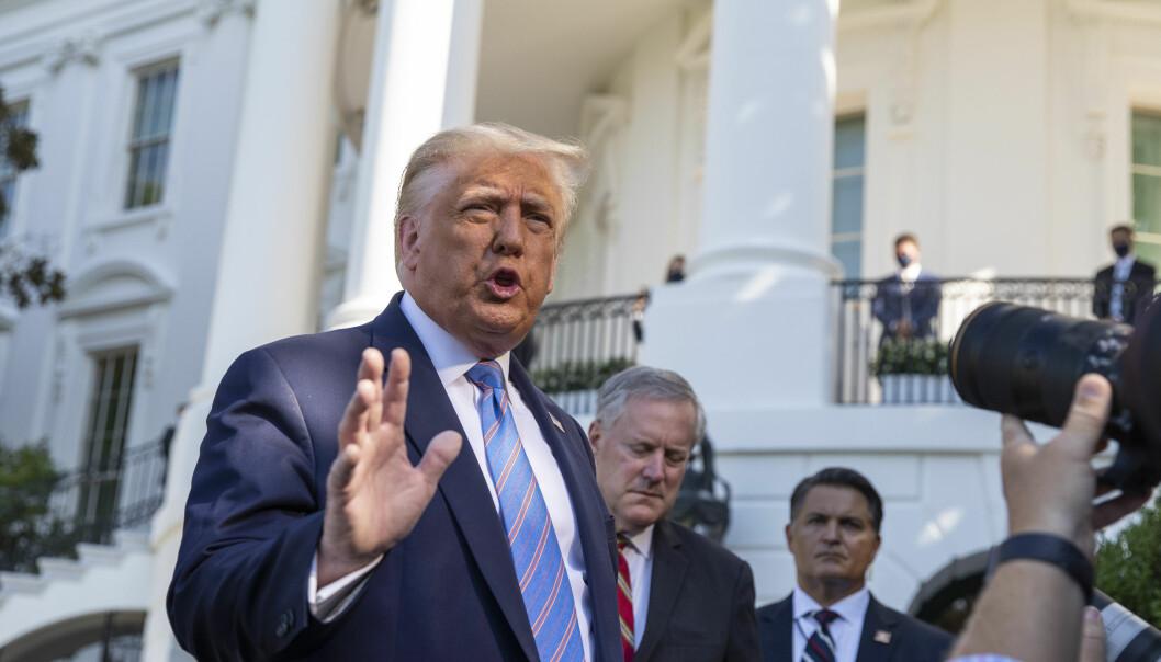 USAs president Donald Trump møtte pressen utenfor Det hvite hus etter avgjørelsen onsdag.
