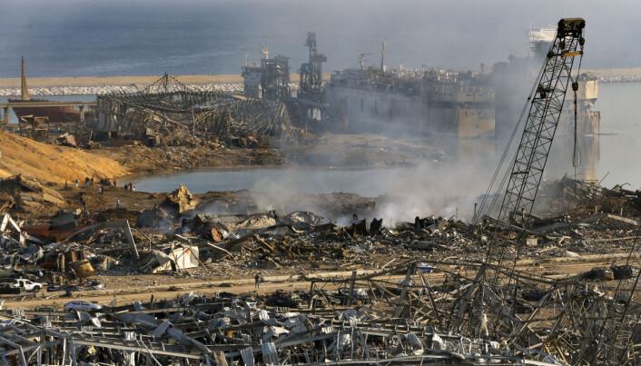 Slik så det ut i havneområdet etter eksplosjonen tirsdag.