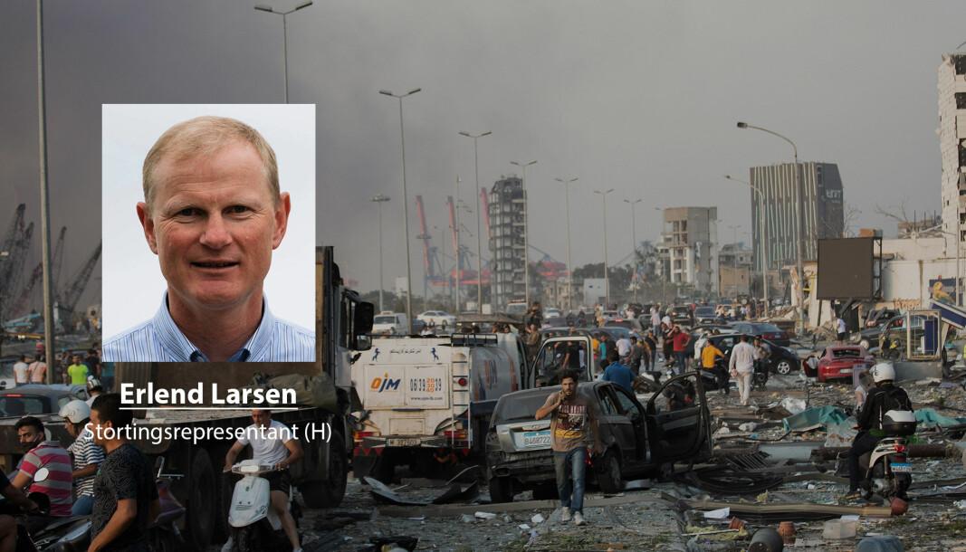 Libanon trenger Norges hjelp skriver stortingsrepresentant for Høyre Erlend Larsen. Her ser vi ødeleggelsene etter eksplosjonene 4. august.